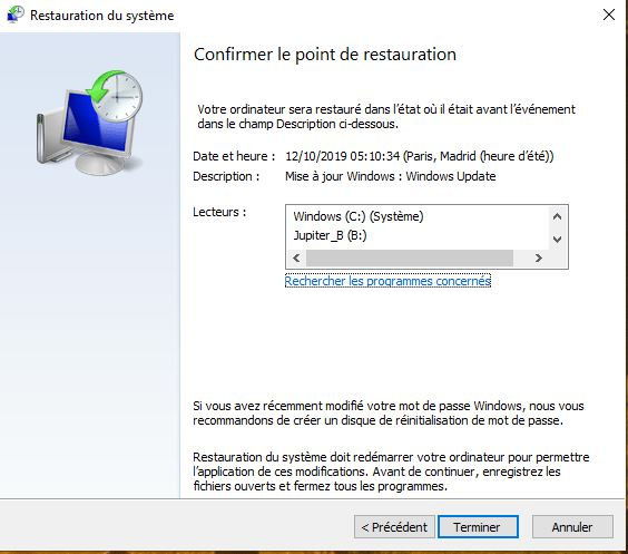 Confirmation des points de restauration